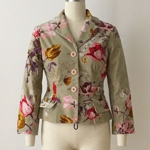 Floral velour jacket with ¾ sleeves by Elevenses